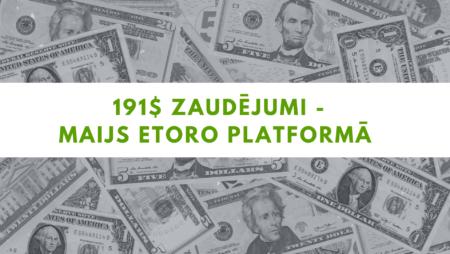191.16$ zaudējumi – Maijs eToro tirdzniecības platformā